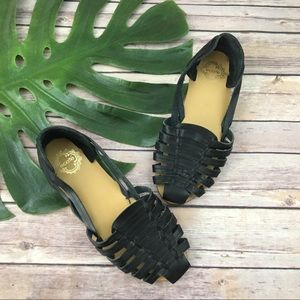 Ecote black leather woven flat sandals